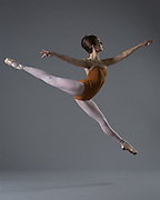 Professional ballet dancer Anna Kroeker poses for audition photos at Western Ballet in Mountain View, California, on January 7, 2014. (Stan Olszewski/SOSKIphoto)