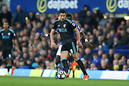 Jake Livermore of West Bromwich Albion passes the ball back. Premier league match, Everton v West Bromwich Albion at Goodison Park in Liverpool, Merseyside on Saturday 11th March 2017.<br /> pic by Chris Stading, Andrew Orchard sports photography.