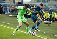 SAINT PETERSBURG, RUSSIA - NOVEMBER 04: Adam Marušić of SS Lazio tussles with Magomed Ozdoyev of Zenit St Petersburg during the UEFA Champions League Group F stage match between Zenit St. Petersburg and SS Lazio at Gazprom Arena on November 4, 2020 in Saint Petersburg, Russia. (Photo by MB Media)
