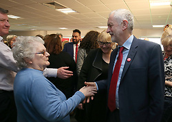 Labour leader Jeremy Corbyn during an election campaign visit to Peterborough United Football Club.