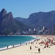 A beach scene looking along the stretch of beaches including Arpoador, Ipanema and Leblon beaches. Rio de Janeiro, Brazil. 6th July 2010. Photo Tim Clayton