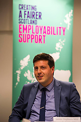 Pictured: Jamie Hepburn<br /> Today, Employability and Traning Minister Jamie Hepburn visited Remploy in Edinburgh and met providers delivering the support to people with health conditions and disabilities and heard from people who have been helped into work through previous employability schemes.  Mr Hepburn met representatives from Progress Scotland; Reploy, Momentum Scotland, Wise Group and the Shaw Trust<br /> <br /> Ger Harley | EEm 3 April 2017