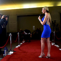 2016 Miss Seattle Joell Posey, 24, broadcasts for a web news channel on the red carpet of Boardwalk Hall before the 96th Miss America Pageant in Atlantic City, NJ September 11, 2016.