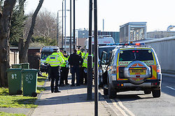 Police cordon off approaches to London City Airport following the discovery by construction workers of an unexploded World War 2 bomb in George V Dock, adjacent to the airport, with local residents evacuated. London City Airport, London, February 12 2018.
