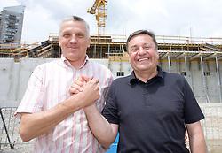 Peter Vilfan and Mayor of Ljubljana Zoran Jankovic at open door day 1 year before opening of new football stadium and sports hall in Stozice,  on June 30, 2009, at Stadium Stozice, Ljubljana, Slovenia. (Photo by Vid Ponikvar / Sportida)