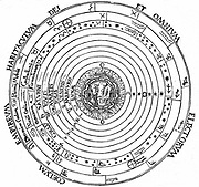 Geocentric (earth-centred) system of universe showing Aristotle's four elements surrounded by the fixed stars, spheres of the planets, the primum mobile, and the abode of God.  From 'Cosmographia' by Peter Apian (Antwerp,1539). Woodcut.