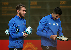 David De Gea of Manchester United and Joel Pereira - Mandatory by-line: Matt McNulty/JMP - 11/09/2017 - FOOTBALL - AON Training Complex - Manchester, England - Manchester United v FC Basel - Press Conference & Training - UEFA Champions League - Group A
