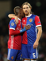 Football - 2017 / 2018 UEFA Champions League - Round of Sixteen, Second Leg: Manchester City (4) vs. FC Basel (0)<br /> <br /> Geoffrey Serey Die of FC Basel and Michael Lang of FC Basel at The Etihad.<br /> <br /> COLORSPORT