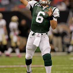 2009 October 04: New York Jets rookie  quarterback Mark Sanchez (6) during warm ups before kickoff of a week four regular season game between the New Orleans Saints and the New York Jets at the Louisiana Superdome in New Orleans, Louisiana.