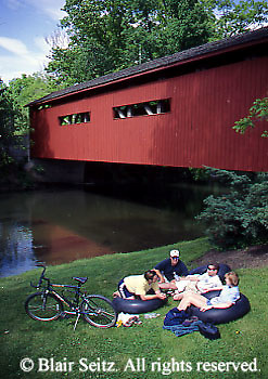 PA Historic Places, Tubing, College Students, Covered Bridge, Yellow Breeches Creek, Messiah College, York and Cumberland Co., Pennsylvania