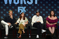 BEVERLY HILLS - AUGUST 9: Cast members Chris Geere, Aya Cash, Desmin Borges, and Kether Donohue onstage during the panel for 'You're the Worst' at the FX portion of the 2017 Summer TCA press tour at the Beverly Hilton on August 9, 2017 in Beverly Hills, California. (Photo by Frank Micelotta/FX/PictureGroup) *** Please Use Credit from Credit Field ***