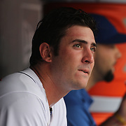 Matt Harvey, the New York Mets pitcher in the dugout after being relieved during the New York Mets V Cincinnati Reds Baseball game at Citi Field, Queens, New York. 22nd May 2012. Photo Tim Clayton