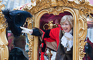 The Lord Mayor's Show, London, UK (9 November 2013). The 686th Lord Mayor of London, Fiona Woolf CBE, in the Lord Mayor's Coach, in Guildhall Yard just before the beginning of the parade. Fiona Woolf is only the second woman to have been elected Lord Mayor of London in the post's 800 year history, following in the footsteps of Mary Donaldson (Lord Mayor of London in 1983).