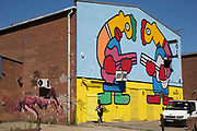 Street art by Thierry Noir in Hackney Wick, East London, United Kingdom. Street art in the East End of London is an ever changing visual enigma, as the artworks constantly change, as councils clean some walls or new works go up in place of others. While some consider this vandalism or graffiti, these artworks are very popular among local people and visitors alike, as a sense of poignancy remains in the work, many of which have subtle messages. (photo by Mike Kemp/In Pictures via Getty Images)