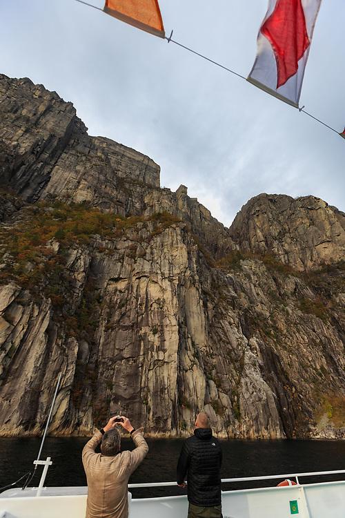 Preikestolen or Pulpit Rock in Lysefjord, Norway.