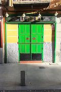 Bright green doors La Perejila, Calle Cava Baja, La Latina, Madrid, Spain