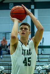 BLOOMINGTON, IL - November 12: Cody Mitchell during a college basketball game between the IWU Titans  and the Blackburn Beavers on November 12 2019 at Shirk Center in Bloomington, IL. (Photo by Alan Look)