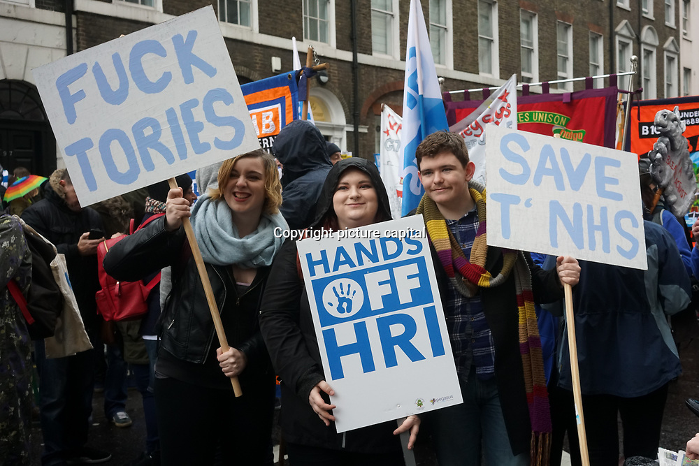 Thousands march and Demonstrate - NHS in Crisis: Fix It Now! organise by The People's Assembly Against Austerity and Health Campaigns Together on 3rd Feb 2018 in London.