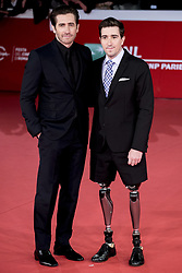 October 28, 2017 - Rome, Italy - Actor Jake Gyllenhaal, left, and author Jeff Bauman arrive on the red carpet of the film 'Stronger' at the Rome Film Fest in Rome, Saturday, Oct. 28, 2017. (Credit Image: © Massimo Valicchia/NurPhoto via ZUMA Press)
