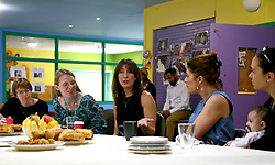 Samantha Cameron (middle) hosts a coffee morning to celebrate the work of charity KIDS and the services that they deliver to disabled children, young people and their families, at Hackney Adventure Playground in London.