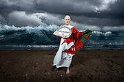 Vivienne Westwood June 2014 on the beach in Swansea for Talk Fracking