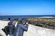 Visitors are seen observing Seals around the Lighthouse tower of St. Mary's Island on Wednesday, March 17, 2021 - which is a small sandstone island near the seaside resort of Whitley Bay in the north of England. It is a Local Nature Reserve. Located in the seaside town on the northeast coast of England, it is administered as part of the borough of North Tyneside in Tyne and Wear. (Photo/ Vudi Xhymshiti)