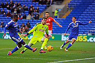 Cardiff City's Junior Hoilett (l)  scores his teams 2nd goal and makes it 2-0 from a tight angle. EFL Skybet championship match, Cardiff city v Huddersfield Town at the Cardiff city stadium in Cardiff, South Wales on Saturday 19th November 2016.<br /> pic by Carl Robertson, Andrew Orchard sports photography.