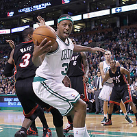 01 April 2012: Boston Celtics small forward Paul Pierce (34) grabs the loose ball during the Boston Celtics 91-72 victory over the Miami Heat at the TD Banknorth Garden, Boston, Massachusetts, USA. NOTE TO USER: User expressly acknowledges and agrees that, by downloading and or using this photograph, User is consenting to the terms and conditions of the Getty Images License Agreement. Mandatory Credit: 2012 NBAE (Photo by Chris Elise/NBAE via Getty Images)