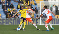 Oxford United's Mark Sykes and Blackpool's Kenny Dougall<br /> <br /> Photographer Rob Newell/CameraSport<br /> <br /> Sky Bet League One Play-Off Semi-Final 1st Leg - Oxford United v Blackpool - Tuesday 18th May 2021 - Kassam Stadium - Oxford<br /> <br /> World Copyright © 2021 CameraSport. All rights reserved. 43 Linden Ave. Countesthorpe. Leicester. England. LE8 5PG - Tel: +44 (0) 116 277 4147 - admin@camerasport.com - www.camerasport.com