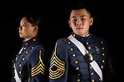 Cadets Chia-Feng Chiang and Pei Hsuan Lu pose for a portrait in Mark Clark Hall on Thursday, August 12, 2021.<br /> <br /> Credit: Cameron Pollack / The Citadel