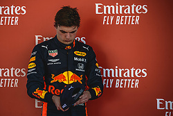 May 12, 2019 - Barcelona, Catalonia, Spain - MAX VERSTAPPEN (NED) from team Red Bull looks on after finishing third at the Spanish GP presenting his cup on the podium at the Circuit de Barcelona - Catalunya (Credit Image: © Matthias Oesterle/ZUMA Wire)