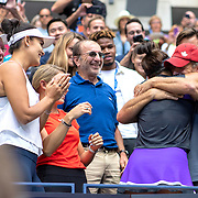2019 US Open Tennis Tournament- Day Thirteen.    Bianca Andreescu of Canada hugs her coach Sylvain Bruneau after her victory against Serena Williams of the United States in the Women's Singles Final on Arthur Ashe Stadium during the 2019 US Open Tennis Tournament at the USTA Billie Jean King National Tennis Center on September 7th, 2019 in Flushing, Queens, New York City.  (Photo by Tim Clayton/Corbis via Getty Images)