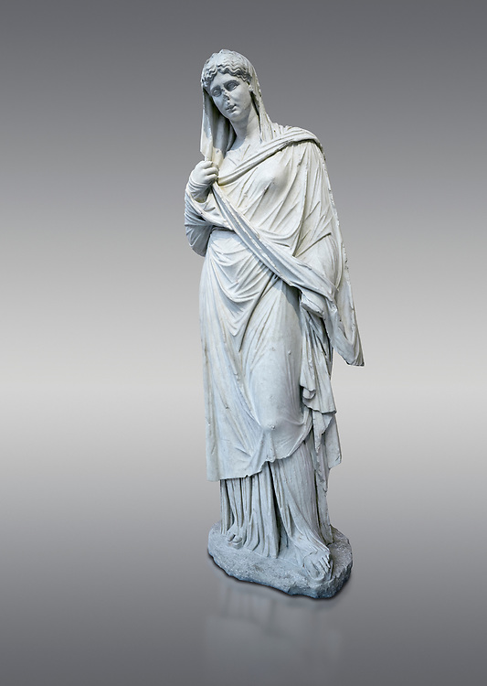 Roman funerary statue of a women in the Large Herculaneum style, Found in the cemetery of Stagiou Street, Athens, Athens Archaeological Museum, cat no 32622.  against grey<br /> <br /> This statue is the typle known as the Large Herculaneum Wome. She wears a full length chiton and himation that covers her head and entire body. Dating from the 1st cent AD it is a copy of an earlier statue circa 320 BC, probably by Praxiteles .<br /> <br /> If you prefer to buy from our ALAMY STOCK LIBRARY page at https://www.alamy.com/portfolio/paul-williams-funkystock/greco-roman-sculptures.html . Type -    Athens    - into LOWER SEARCH WITHIN GALLERY box - Refine search by adding a subject, place, background colour, etc.<br /> <br /> Visit our ROMAN WORLD PHOTO COLLECTIONS for more photos to download or buy as wall art prints https://funkystock.photoshelter.com/gallery-collection/The-Romans-Art-Artefacts-Antiquities-Historic-Sites-Pictures-Images/C0000r2uLJJo9_s0