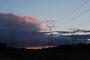 High voltage towers carrying electricity from dams along the Clackmas River near Estacada, Oregon.