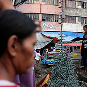 Christmas trees for sale on October 8, 2008 at Divasoria markets, Manila, the Philippines. Photo Tim Clayton