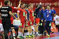 BILDET INNGÅR IKKE I FASTAVTALER. ALL NEDLASTING BLIR FAKTURERT.<br /> <br /> Håndball<br /> EM 2016<br /> Semifinale Tyskland v Norge<br /> Foto: imago/Digitalsport<br /> NORWAY ONLY<br /> <br /> Handball, EM Halbfinale, Deutschland - Norwegen Deutschland - Norwegen / Krakau, Handball EM EHF EURO, Nationalteam, Länderspiel, Halbfinale / Trener Christian Berge (NOR), Norway - Germany, EHF Euro 2016, Handball European Championship EM Europameisterschaft