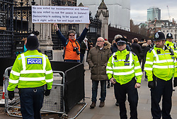 """A protester's banner outside the Houses of Parliament in London decries """"incompetence and failure"""" and demands a second referendum. London, January 14 2019."""