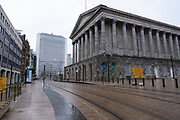 National coronavirus lockdown three begins in Birmingham city centre, which is deserted outside the Town Hall on 6th January 2021 in Birmingham, United Kingdom. Following the recent surge in cases including the new variant of Covid-19, this nationwide lockdown, which is an effective Tier Five, came into operation today, with all citizens to follow the message to stay at home, protect the NHS and save lives.