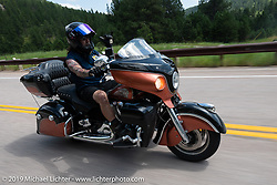 Jeff Kelderman riding on the Cycle Source Ride up Vanocker Canyon to Nemo during the Sturgis Black Hills Motorcycle Rally. SD, USA. Wednesday, August 7, 2019. Photography ©2019 Michael Lichter.