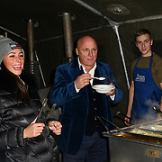 Amber Dowding and Aldo Zilli join Sleep Out fundraiser to help homeless young people at Greenwich Peninsula Quay on 15 November 2018, London, UK.