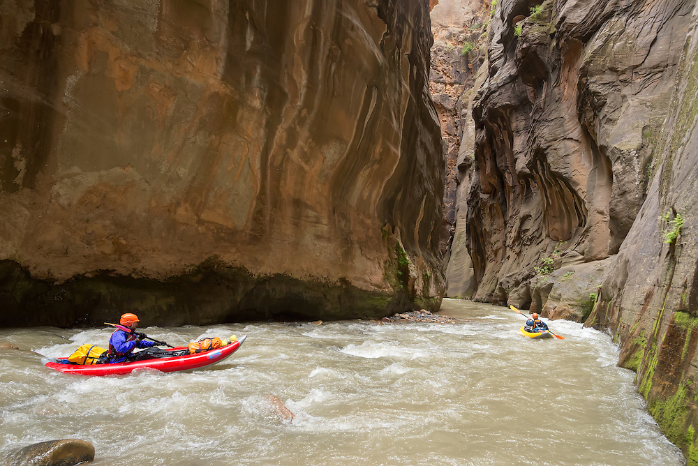 Paddling Zion Narrows in Zion National Park, Utah.