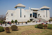 Visitors at the Charriots Exhibition Hall, Qin Museum, Xian, China