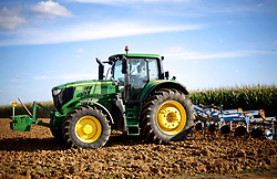 02 Sept 2019. St Denoeux, Pas de Calais, France.<br /> Mayor of St Denoeux, Christian Leroy ploughing the fields above town.<br /> Photo©; Charlie Varley/varleypix.com