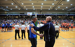 Coach of Salonit Emanuele Francascia and coach of ACH Glenn Hoag at finals of Slovenian volleyball cup between OK ACH Volley and OK Salonit Anhovo Kanal, on December 27, 2008, in Nova Gorica, Slovenia. ACH Volley won 3:2.(Photo by Vid Ponikvar / SportIda).