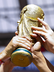 fans with the Worldcup during the 2018 FIFA World Cup Russia group B match between Portugal and Morocco at the Luzhniki Stadium on June 20, 2018 in Moscow, Russia