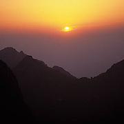China, Yellow mountains at sunrise.