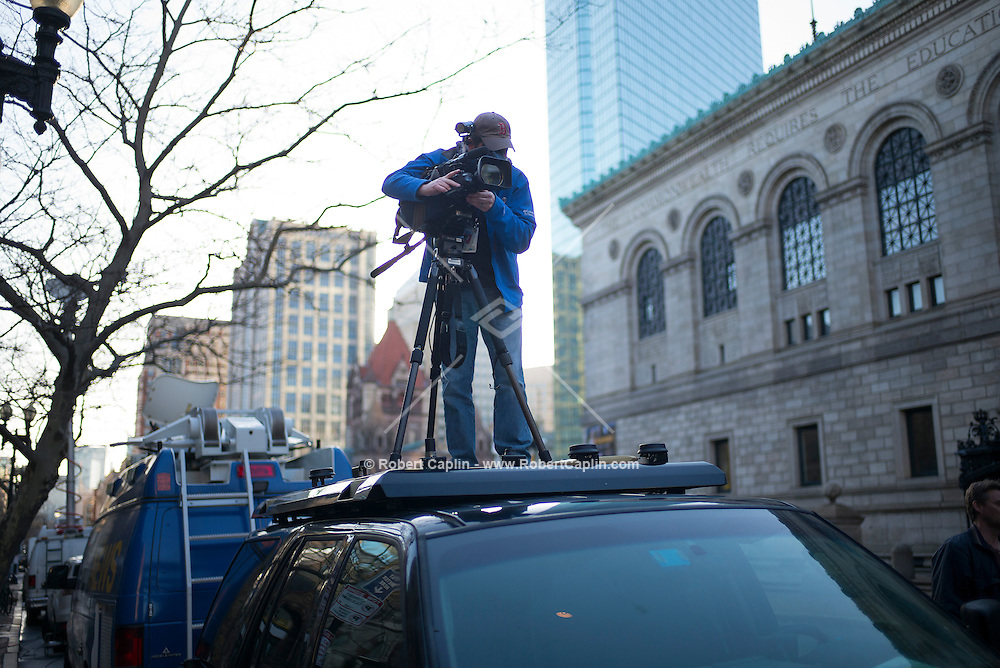 Gregory Heisler Sports Illustrated cover shoot in Boston, Massachusetts at the finish line of the Boston Marathon one year after the bombings that occurred at the 2013 Marathon. <br /> (Photo by Robert Caplin)<br /> <br /> <br /> Photo Copyright Robert Caplin