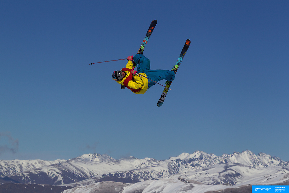 in action in the Slopestyle Finals during The North Face Freeski Open at Snow Park, Wanaka, New Zealand, 2nd September 2011. Photo Tim Clayton...