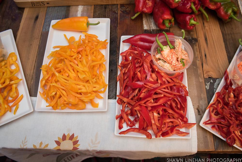 PEPPER (SWEET), Capsicum annuum Showcase: 'Joelene's Rustic Red'<br /> Breeder: Frank Morton, Wild Garden Seed<br /> Chef: Chris Starkus, Urban Farmer<br /> Dish 1: Farmers Cheese with Joelene Pepper Jam<br /> Dish 2: LDR Ranch Waygu Philly Cheesesteak Gougere with Spicy Pickled Joelene's Peppers