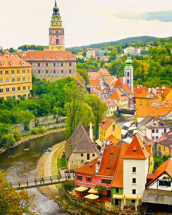 The architecture of the town of Cesky Krumlov, in the Czech Republic.